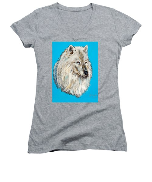 Women's V-Neck T-Shirt (Junior Cut) featuring the painting Alaska White Wolf by Bob and Nadine Johnston