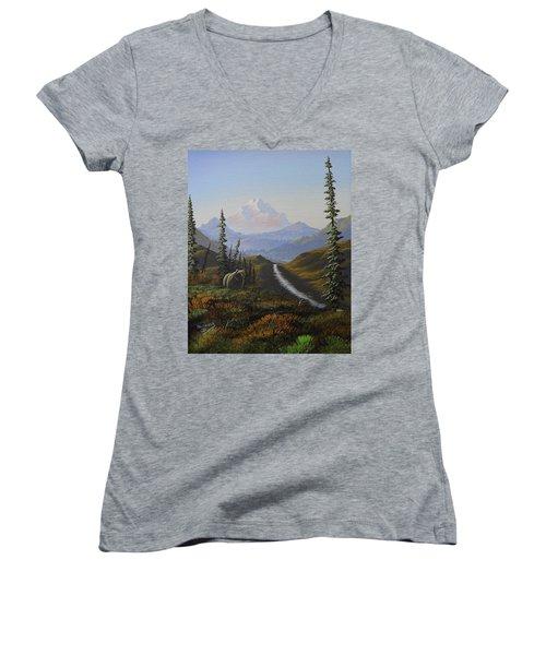 Alaskan Brown Bear Women's V-Neck T-Shirt (Junior Cut) by Richard Faulkner