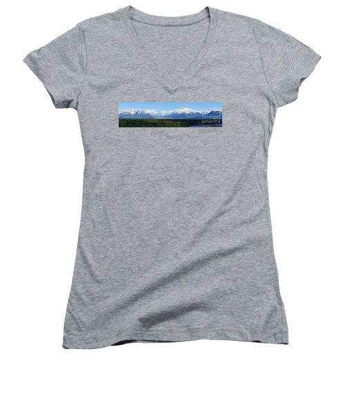 Alaskan Denali Mountain Range Women's V-Neck T-Shirt (Junior Cut) by Jennifer White