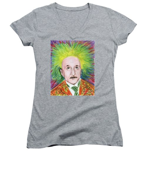 Women's V-Neck T-Shirt (Junior Cut) featuring the drawing Albert Einstein by Yoshiko Mishina
