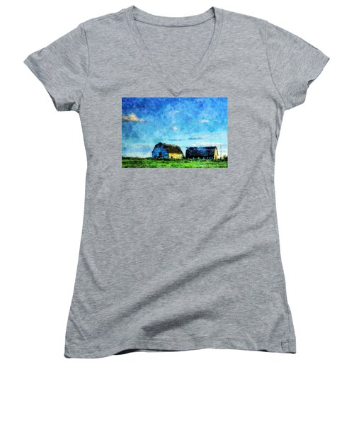 Alberta Barn At Sunset Women's V-Neck (Athletic Fit)
