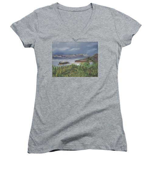 Alcatraz Women's V-Neck T-Shirt (Junior Cut) by Michael Daniels