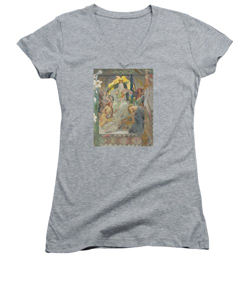 Arabian Nights By Andre Castaigne Women's V-Neck T-Shirt (Junior Cut) by Antique Art