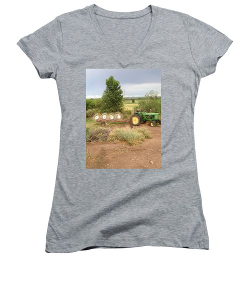 Women's V-Neck T-Shirt (Junior Cut) featuring the photograph Alfalfa Time by Erika Chamberlin