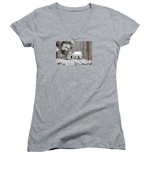Women's V-Neck T-Shirt (Junior Cut) featuring the photograph Alfred Reagan's Home In Snow by Debbie Green