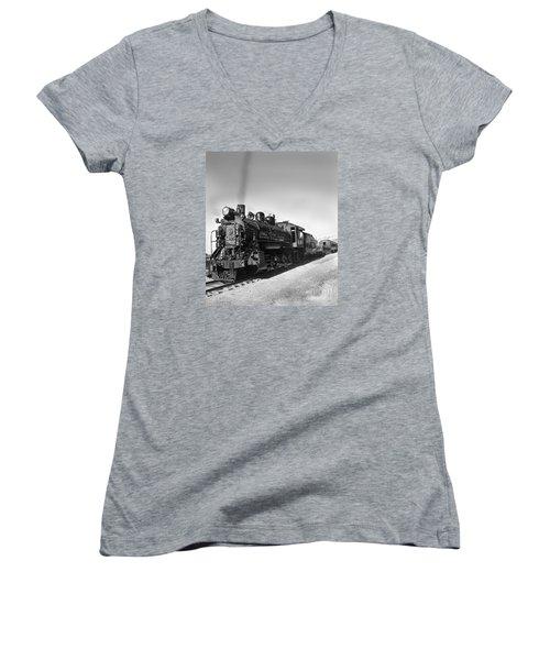 All Aboard Women's V-Neck T-Shirt (Junior Cut) by Robert Bales
