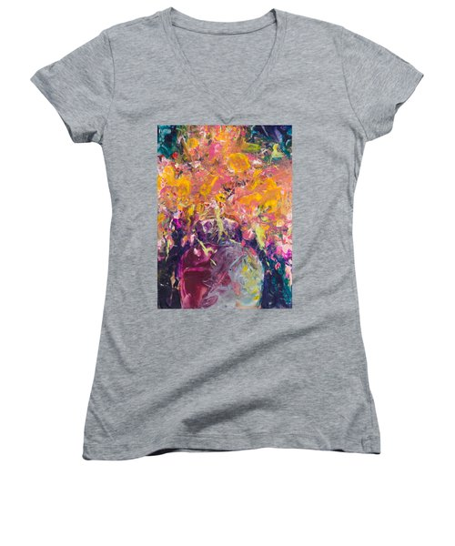All Aglow Women's V-Neck T-Shirt (Junior Cut) by Lee Beuther