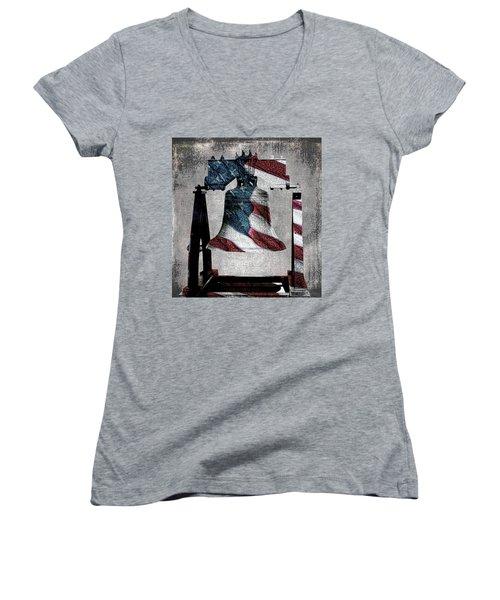 All American Liberty Bell Art_denim Women's V-Neck T-Shirt (Junior Cut) by Lesa Fine