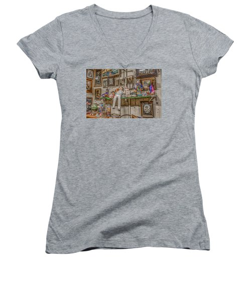 All By My Shelf Women's V-Neck T-Shirt (Junior Cut) by Ray Congrove