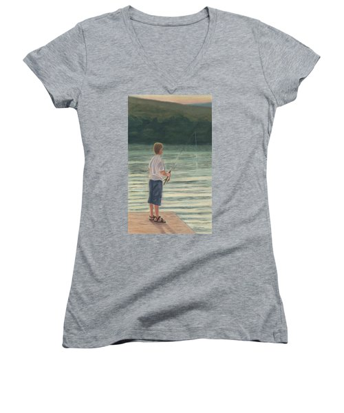 Women's V-Neck T-Shirt (Junior Cut) featuring the painting All Day Long by Arlene Crafton