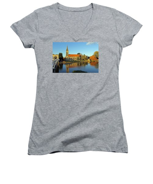 All Saints Church Marlow Women's V-Neck T-Shirt (Junior Cut) by Tony Murtagh