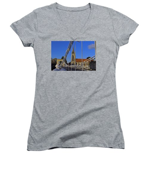 All Saints Church Women's V-Neck T-Shirt (Junior Cut) by Tony Murtagh