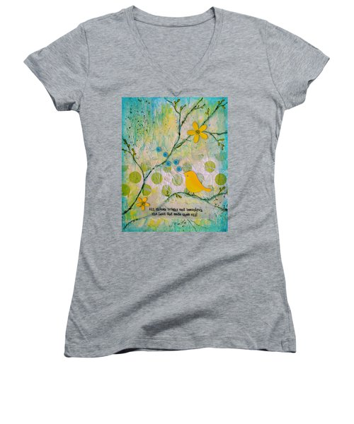 All Things Bright And Beautiful Women's V-Neck T-Shirt
