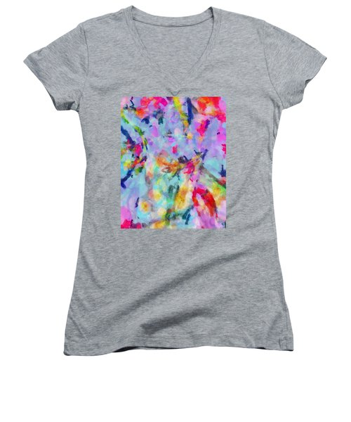 Women's V-Neck T-Shirt (Junior Cut) featuring the painting All Those Good Things by Joe Misrasi