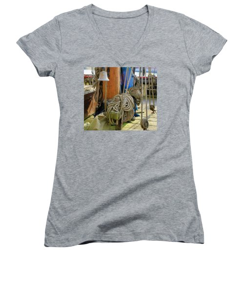 Women's V-Neck T-Shirt (Junior Cut) featuring the digital art All Tied Up by Ron Harpham