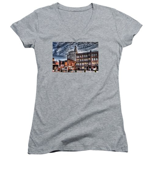 Alley View Women's V-Neck T-Shirt (Junior Cut) by Ray Congrove