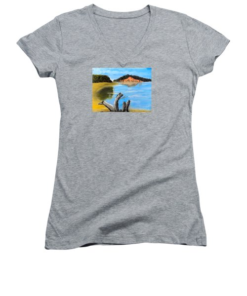 Women's V-Neck T-Shirt (Junior Cut) featuring the painting Allonah Beach Tasmania by Pamela  Meredith