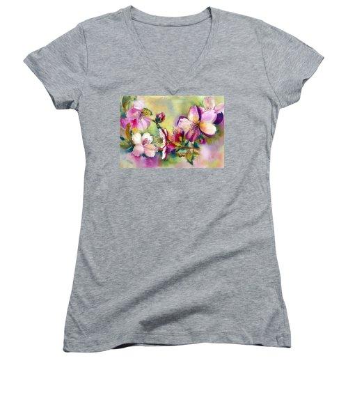 Almond Blossoms Women's V-Neck