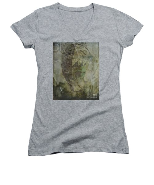 Women's V-Neck T-Shirt (Junior Cut) featuring the photograph Almost Forgoten by Irma BACKELANT GALLERIES