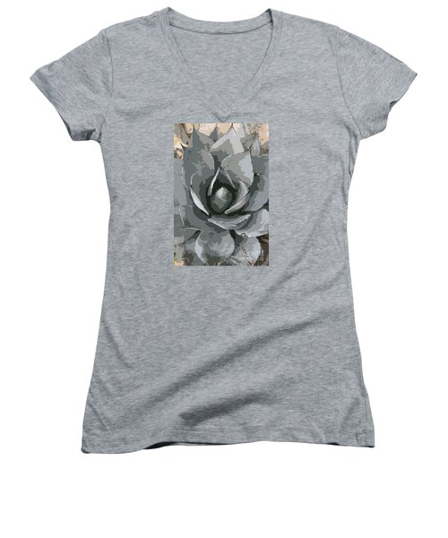 Aloe Vera Abstract Women's V-Neck T-Shirt (Junior Cut) by Christiane Schulze Art And Photography