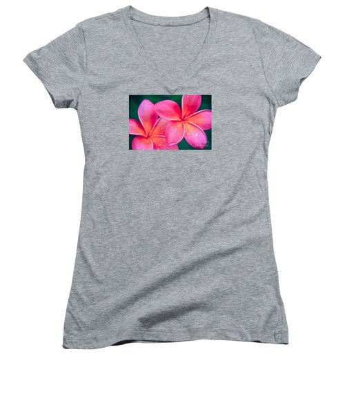 Aloha Hawaii Kalama O Nei Pink Tropical Plumeria Women's V-Neck