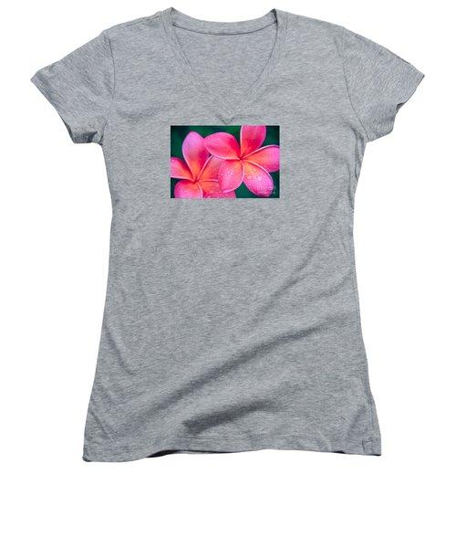 Aloha Hawaii Kalama O Nei Pink Tropical Plumeria Women's V-Neck T-Shirt