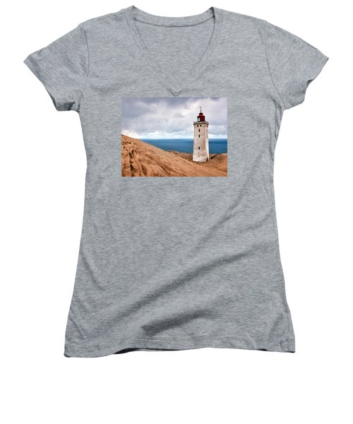 Lighthouse On The Sand Hils Women's V-Neck T-Shirt