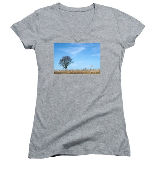 Alone Tree In The Reeds Women's V-Neck T-Shirt