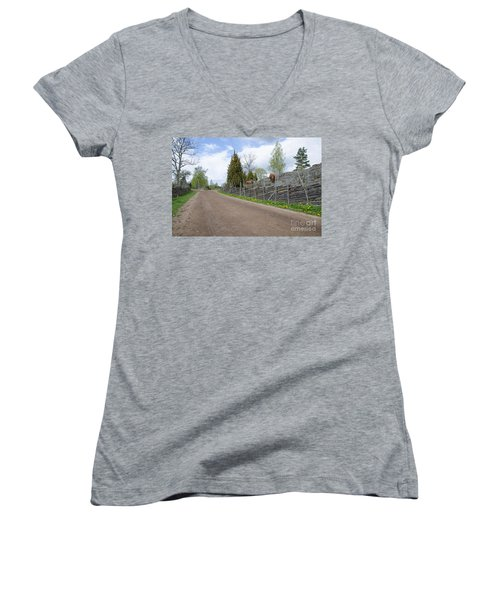 Along An Old Fashioned Road Women's V-Neck T-Shirt