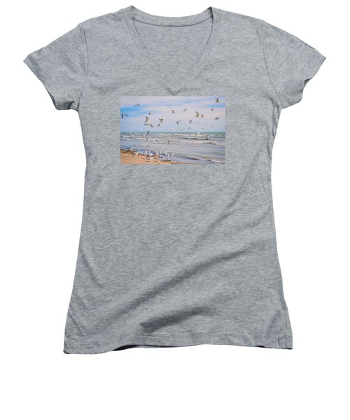 Along The Beach Women's V-Neck