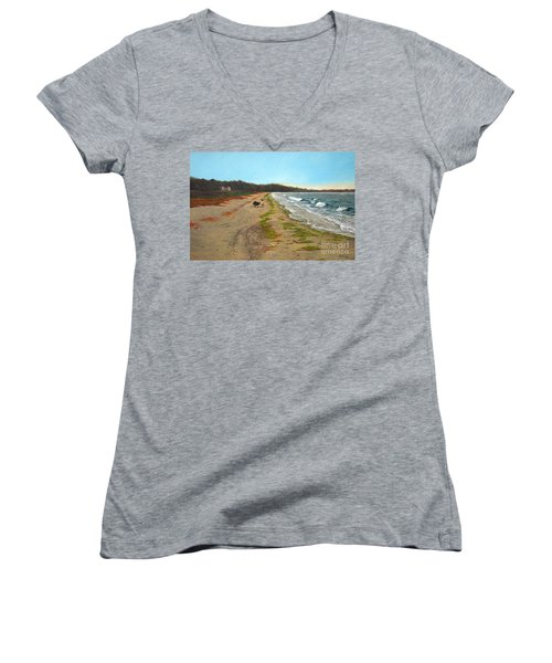 Along The Shore In Hyde Hole Beach Rhode Island Women's V-Neck (Athletic Fit)