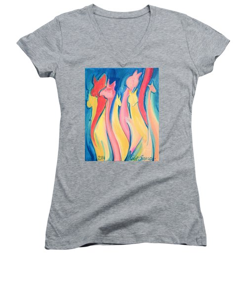 Alpaca Flames Women's V-Neck T-Shirt (Junior Cut)