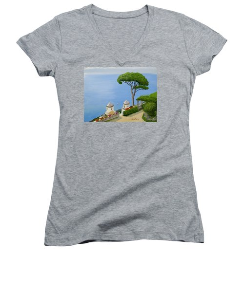 Amalfi Coast From Ravello Women's V-Neck T-Shirt (Junior Cut) by Mike Robles