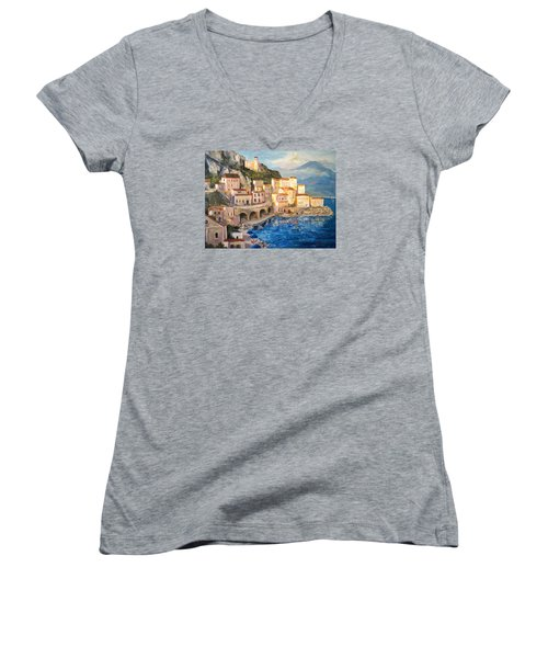 Amalfi Coast Highway Women's V-Neck T-Shirt (Junior Cut) by Alan Lakin