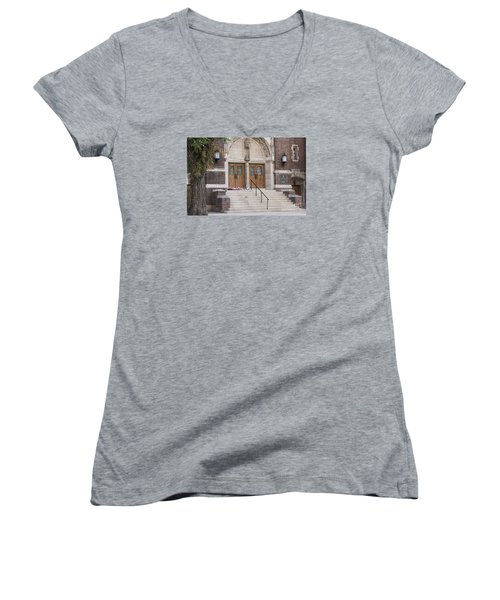 Women's V-Neck T-Shirt (Junior Cut) featuring the photograph America The Beautiful by Janice Rae Pariza