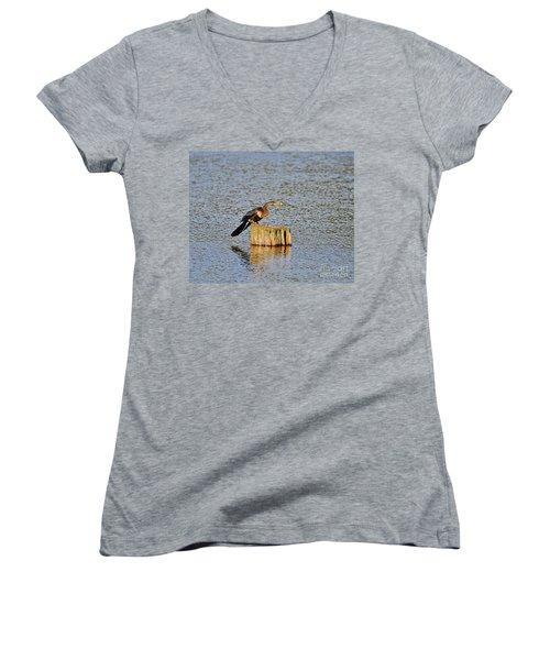 American Anhinga Angler Women's V-Neck T-Shirt