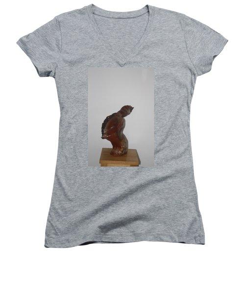 Women's V-Neck T-Shirt (Junior Cut) featuring the sculpture American Athlete...inspiration Gail Devers by Gloria Ssali