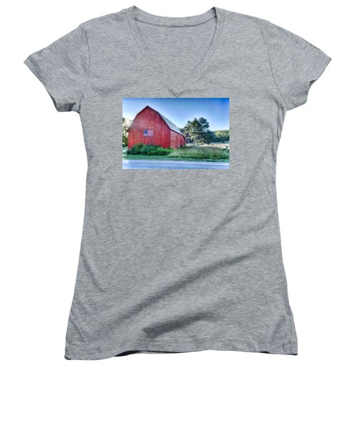 Women's V-Neck T-Shirt (Junior Cut) featuring the photograph American Barn by Sebastian Musial