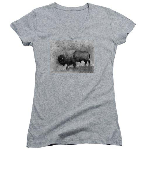 Monochrome American Buffalo 3  Women's V-Neck