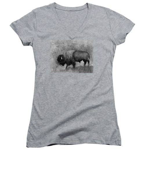 Monochrome American Buffalo 3  Women's V-Neck (Athletic Fit)
