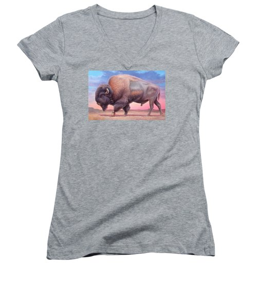 American Buffalo Women's V-Neck T-Shirt (Junior Cut) by Hans Droog