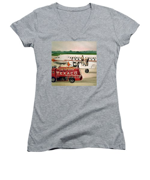 American Dc-6 At Columbus Women's V-Neck T-Shirt (Junior Cut) by Frank Hunter