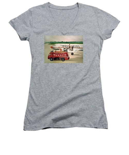 American Dc-6 At Columbus Women's V-Neck