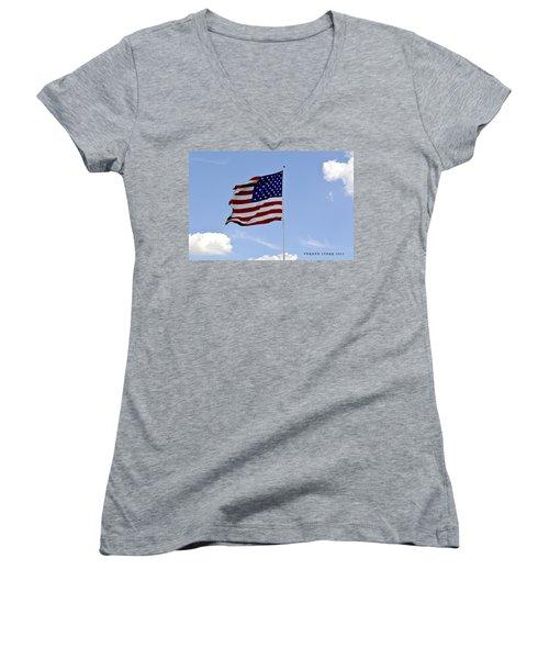 Women's V-Neck T-Shirt (Junior Cut) featuring the photograph American Flag by Verana Stark