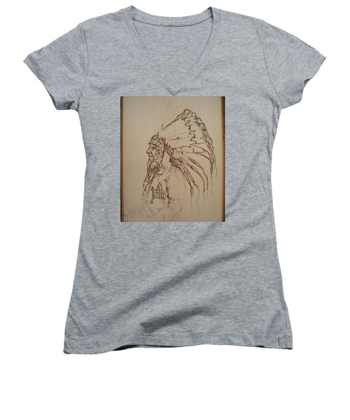 American Horse - Oglala Sioux Chief - 1880 Women's V-Neck T-Shirt (Junior Cut) by Sean Connolly