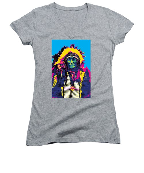 American Indian Chief Women's V-Neck T-Shirt