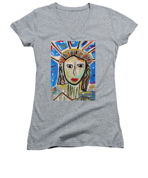 American Lady Women's V-Neck T-Shirt (Junior Cut) by Mary Carol Williams