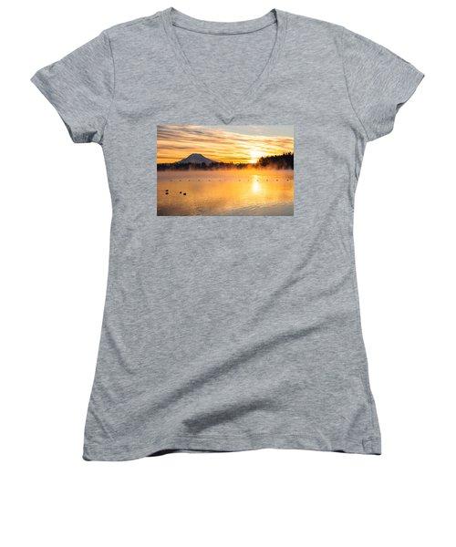 American Lake Misty Sunrise Women's V-Neck