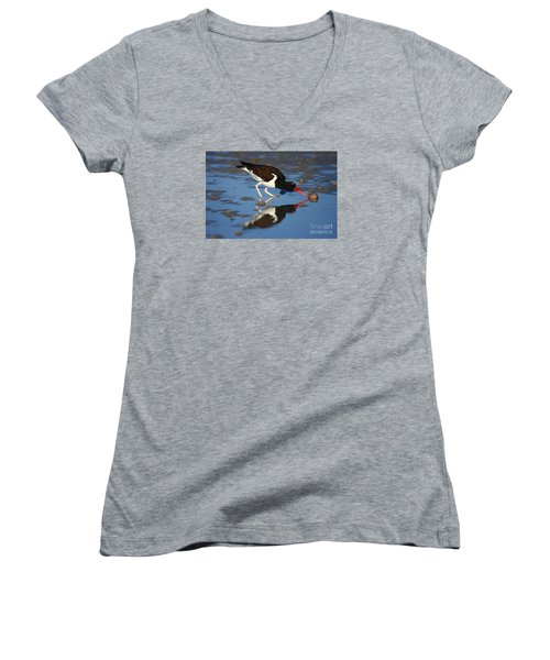 Women's V-Neck T-Shirt (Junior Cut) featuring the photograph American Oystercatcher Mirror by John F Tsumas