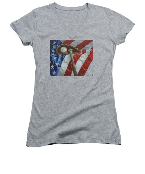 America's Game - Art By Bill Tomsa Women's V-Neck (Athletic Fit)